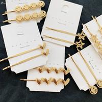 ingrosso stelle dei capelli accessori-AOMU Corea Forcine metalliche semplici per le donne Fermagli per capelli a forma di cuore stella d'oro. Accessori per capelli