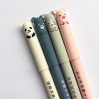 kedi mektubu kalemleri toptan satış-Karikatür Hayvanlar Okul Yazma Yenilik Kırtasiye Kızlar Hediyeler için Silinebilir Kalem 0.35mm Sevimli Panda Kedi Sihirli Kalemler Kawaii Jel Kalemler