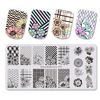 Wholesale xl stamping plates for sale - Group buy BEAUTYBIGBANG Rectangle Nail Stamping Plates Flower Grid Plaid Geometric Image Print Stencil Nail Template XL