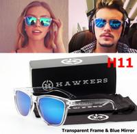 mavi mavi toptan satış-Yüksek kalite marka tasarım hawker güneş gözlüğü erkekler 2019 bayanlar renk lens seçimi kutusu mavi güneş gözlüğü toptan spor güneş gözlüğü