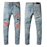 Wholesale jeans for sale - Amiri Jeans Mens Distressed Ripped Biker Jeans Slim Fit Motorcycle Biker Denim Fashion Designer Pants Hip Hop Mens Jeans