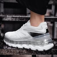 sapatos de dança hip hop homens venda por atacado-2019 Dancing Shoes Hop Rua Hip Homens Tenis Chunky Sneakers High Top Soles transparentes Branco Laranja Sneakers Men Casual Sapatos