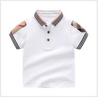 Retail Summer Baby Boys Girls T-shirts Cotton Kids Short Sleeve T Shirt High Quality Children Turn-down Collar Plaid T-shirt Kids Clothing
