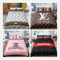 Wholesale red white king size bedding resale online - 3D Modern Trend Fashion Classic logos Pattern Printing Polyester bedding sets Single Queen Twin King Size