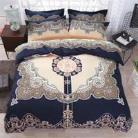 ropa de cama europea de lujo al por mayor-Estilo europeo y americano 4 unids / set Conjuntos de ropa de cama AB Funda Nórdica Sábanas Textiles Para El Hogar Textiles de Lujo Diseñadores King Size Juegos de cama
