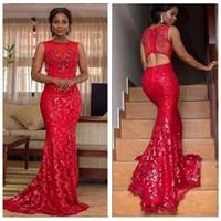 vestido vermelho estilo sereia de renda preta venda por atacado-Vermelho Pura Jóia Sereia Vestidos de Baile Rendas Sexy Aberto Para Trás 2020 Estilo Africano Festa À Noite Vestidos de Meninas Negras Simples Primavera Vestidos De Fiesta