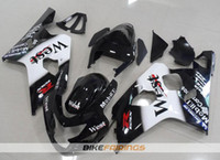 motocicletas gsxr plásticos venda por atacado-Novos kits de carenagens de moto de plástico ABS para Suzuki GSXR 600 750 04 05 Carenagem GSX-R600 R750 2004 2005 personalizado west Free windscreen