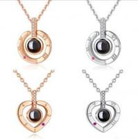cadeaux pour le jour de l'amour achat en gros de-100 langues je t'aime collier 4 styles projection pendentif amour mémoire collier de mariage romantique cadeau de fête du jour de Valentine cadeau OOA6207