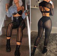 ingrosso pantaloni in poliestere lucido-Sexy Ladies Women Mesh Sheer See Through Pantaloni a righe a righe Pantaloni a vita alta aderenti Pantaloni aderenti neri con profili sciancrati