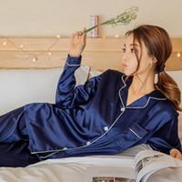 conjunto de pijamas de seda al por mayor-Pijamas de satén de seda para mujer conjunto de pijamas de manga larga Pijama de pijama de manga larga para dormir Conjunto de dos piezas Conjunto de ropa de salón Más el tamaño