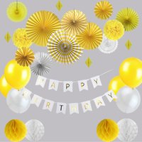abanicos de papel amarillo al por mayor-22pcs Sunny Yellow You Are My Sunshine Kit de decoración de la fiesta de cumpleaños Feliz cumpleaños Banner Fan de papel 1er cumpleaños Baby Shower