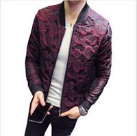 ingrosso vestito nero grigio nero-2018 New Spring Jacquard Giacche Bomber Uomo Lusso Vino Nero Rosso Grigio Giacca Party Outfit Club Bar Cappotto Uomo Giacca Uomo