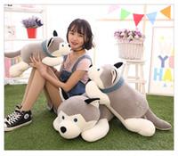 büyük doldurulmuş hayvan yastıkları toptan satış-Karikatür Yalan Husky Peluş Doldurulmuş Köpek Büyük Oyuncaklar 60 CM Huskie Köpek Bebek Güzel Hayvan Çocuk Doğum Günü Hediyesi Corgi Peluş yastık