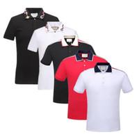 herren polo t-shirts großhandel-Frühling Luxus Italien T-Shirt Designer Polo Shirts High Street Stickerei Strumpfband Schlangen kleine Biene Druck Kleidung Mens Brand Polo Shirt