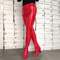 cuir rouge sexy achat en gros de-Dames Sexy Taille Pantalon Bottes Dames Chunky Talons Hauts Extrêmement Longue Cuisse Haut Bottines Bright Rouge Brillant En Cuir Zip Botas