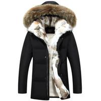 kürk yakalı uzun ceket erkek toptan satış-Uzun Kapşonlu Parkas Erkekler Kalın Erkek Kış Ceket Kaban Erkek Artı boyutu S-5XL Marka Giyim Man Coat Fur Yaka palto Isınma