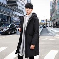 Wholesale youth style for sale - Group buy Winter New Style White Duck down Jacket Men s Mid length Thick Hooded Korean style Stylish Men s Jacket Youth