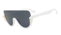 sonnenbrille halbe katze groihandel-MEROAFLY Pearl Cat Eye Sonnenbrille Damen 2019 Markendesigner Übergroße Retro Brillen Damen Halbrandlose Sonnenbrille UV400