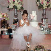 Wholesale hem wedding dress flower resale online - Charming High Low Flower Girl Dresses For Weddings Cross Back Tulle First Communion Gowns Tiered Asymmetrical Hem Ball Gown Party Gowns