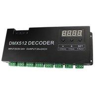 dmx 24v dimmer al por mayor-Freeshipping de 24 canales DMX RGB Pantalla 512 Decodificador Con Digital Dimmer 72A PWM controlador de tira del RGB controlador DMX Con RJ45 de entrada DC 5V-24V