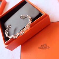 ingrosso bangles s925-S925 Braccialetto aperto punk lussuoso in argento sterling a forma di naso di maiale cavo con anello logo con ciondolo logo gioielli gioielli di Natale PS6317