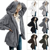 plus größe frauen oberbekleidung großhandel-Frauen-Plüsch-Sherpa-mit Kapuze Oberbekleidung-Taschen-Hoodie Mantel-warmer Strickjacke-Außenoberbekleidung warm plus Größe Jackenmantel LJJA2844