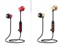 müzik kartı mp3 toptan satış-Sınır ötesi özel M12 kablosuz spor Bluetooth kulaklık Koşu Metal manyetik kart MP3 müzik kulaklıklar
