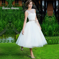 Wholesale inverted triangle wedding dresses for sale - Group buy Vintage Plus Size Wedding Dresses Lace A Line Short Bridal Dress Beach Bride Party Gowns Sheer Neck Backless