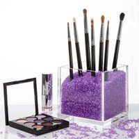 Wholesale stone countertop for sale - Group buy Acrylic Square Make up box plexiglass Makeup Brush Holder Countertop Cosmetic Organizer with crystal stones