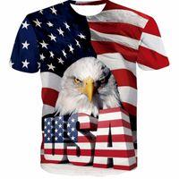 футболка с флагом оптовых-Новый Флаг США Футболка Мужчины / Женщины Сексуальная 3d Футболка Печати Полосатый Американский Флаг Мужчины Футболка Летние Топы Тис Плюс 5XL