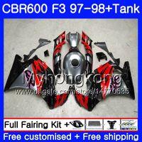 tanque de cbr al por mayor-Cuerpo + Tanque para HONDA CBR 600 FS F3 CBR600RR CBR 600F3 97 98 290HM.0 CBR600 F3 97 98 CBR600FS CBR600F3 1997 1998 Carenados Plateado rojo negro