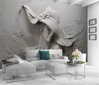 Wholesale three dimensional wallpapers resale online - 3d Wallpaper d Three Dimensional Relief With Hat Beauty Living Room Bedroom Background Wall Decoration Mural Wallpaper