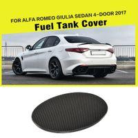 almofadas do tanque de combustível venda por atacado-Carbon Fiber Oil Gas Fuel Pad Cap tanque cobrir Etiqueta para a Alfa Romeo Giulia 4-Door 2017 Car Styling