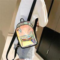 lila rucksack doppelte schultertaschen großhandel-Laser Transparent Geleebeutel Zwei Schultern Rucksack Frauen Männer Student Rucksack Sport Laufen Doppel Reißverschluss Rot Lila
