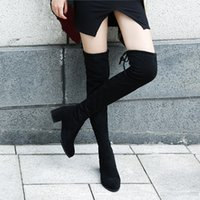 ingrosso merletto maglia elastica-Elastic Flock Slim Fit Over The Knee Boots Women 2019 Winter thigh Lace up ladies High heel Chunky heel Long Thigh High botas CJ191116