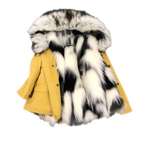 шуба лиса девушка оптовых-Fashion Kids girl Winter Jacket Faux  Fur liner detachable jackets children outerwear girl outfit thick warm Coat for 3-13 Y