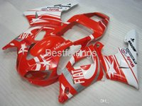 kit carenado r1 1998 al por mayor-ZXMOTOR Kit de carenado personalizado gratis para YAMAHA R1 1998 1999 blanco rojo carenados YZF R1 98 99 GF25
