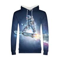 хараюку галактики толстовки оптовых-3D Printed Hoodies Men Rocket Skateboard Galaxy Moon Sweatshirts Harajuku Pullover Jackets  Quality Outwear Tracksuit