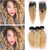 Wholesale B Blonde Ombre Kinky Curly Bundles of Peruvian Hair with Closure Ombre Blonde Virgin Human Hair x4 Lace Front Closure with Weaves