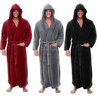 erkeklerin uzun kıyafeti toptan satış-Erkekler Kış uzatılmıştır Peluş Şal Bornoz Ev Giyim Uzun Kollu Robe Coat bornoz sabahlık homme peignoir homme Dropship