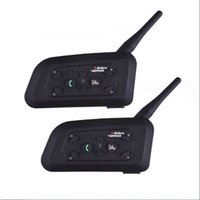 intercomunicador bluetooth großhandel-2 stücke V6 Multi BT Interphone 1200 Mt Motorrad Bluetooth Helm Intercom intercomunicador moto interfone headset für 6 Fahrer