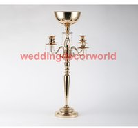 Wholesale led table large resale online - New style Gold Candle Holders Metal Candlestick large Flower Vase Table Centerpiece Event Flower Rack Road Lead Wedding Decoration deor0083