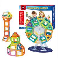 conjunto de bloques de imán al por mayor-58 unids Bloques de Construcción Conjuntos de Juguetes Magnéticos Kid Bloques de Construcción Creador Set Rainbow Colors Imán Bloque Juguetes para Niños Regalo de Navidad