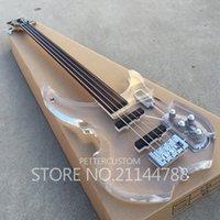 cordes de guitare sans fret achat en gros de-Top qualité usine personnalisé acrylique corps basse fretless 4 cordes basse électrique guitare instrument de musique boutique