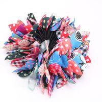telas de pc al por mayor-100 Unids / lote Modelo de mezcla aleatoria estilo coreano Gomas para el cabello Cabello tela colorida tela elástica Orejas de conejo bandas para el cabello al por mayor para mujeres niñas