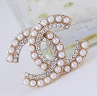 Wholesale lapel clips for sale - Group buy 2019 Vintage Crystal Big Luxury Brooch Women Letter C Designer Brooch Suit Lapel Pin Fashion Jewelry Accessories Gift for Love