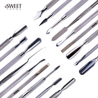 Wholesale nail art cut resale online - 1pc Stainless Steel Nail Art Double Sided Cuticle Finger Dead Skin Cut Remover Pusher Manicure Pedicure Nail Care Tools LA1