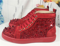 Wholesale shoe custom design resale online - Men women high end custom genuine leather red coloured glaze nail casual shoes high top locomotive design red bottom sneakers size