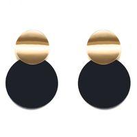 gebürsteten goldschmuck großhandel-6 paar Neue Mode persönlichkeit Asymmetrie größe Runden blech matt gebürstetem gold geometrische ohrstecker für Frauen Schmuck R-7