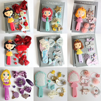 Wholesale barrettes for hair resale online - Baby Girls Children Hair Bows Accessories Hairpin Hair Rope Princess Comb Jewelry Gift Box Party Christmas set Hairbrush For Gift M466